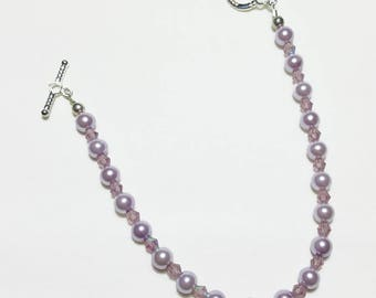 Lavender Pearl Amethyst Crystal Wedding Bridal Beaded Bracelet