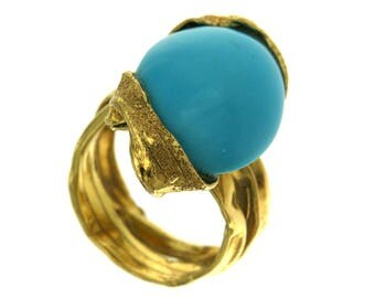 18 kt yellow gold ring. 750 and natural turquoise, Turquoise Cabochon Ring Blue Design ring gemstone jewelry Handcrafted