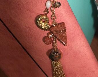 Gold chain tassle sparkle charm