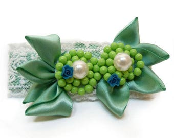 Clip type clip hair barrette white fine lace satin blue fimo flower beads Green