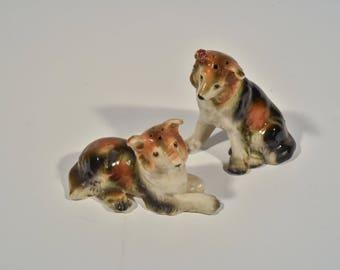 Vintage Collie Ceramic Figure, Dog Salt and Pepper Shaker, Collie Dog Figurine, Brown and Black Dog Figure, Collie Salt and Pepper Shakers