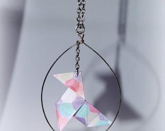 Pine Cone #2 origami necklace