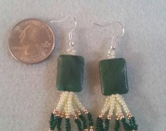 Green polished Stone dangles