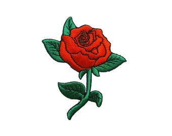 Red Rose Iron On Patch Tattoo Embroidered Applique Biker Patches For Jackets