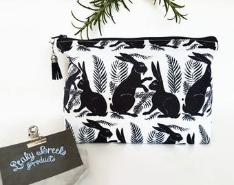 Hare print makeup bag,mothers day gift,bunnies gift,rabbits gift,monochrome toiletries bag,block print,black and white zipper pouch,canvas.