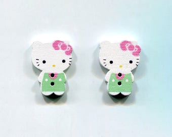 lot 2 Hello Kitty Cat buttons * green * wood 24mm
