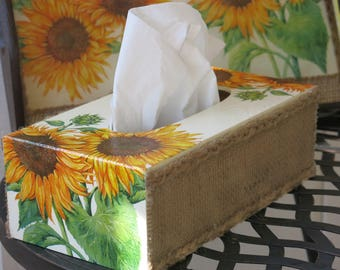 "Double sunflower tissue box, Handmade in Provence, ""La Emilie"""