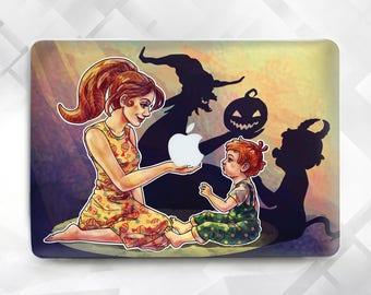 Halloween MacBook case , Macbook case Mom and Child Halloween, Mom & Child Halloween Laptop Case, Macbook Air 11 13, Pro 13 15, Macbook 12