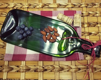 Flat Green Slumped Bottle