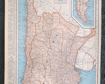 Map Of Argentina Etsy - Argentina map vintage