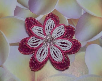 Large red and white flower brooch