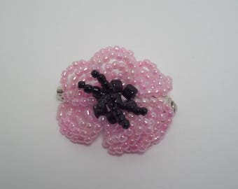 Pink poppy flower brooch