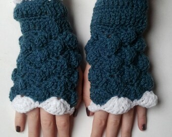 fingerless gloves, in denim blue and white crochet yarn - crochet-Fingerless wool mittens handmade Fingerless