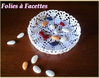 Wedding, baptism, communion: basket in white cotton crochet hook