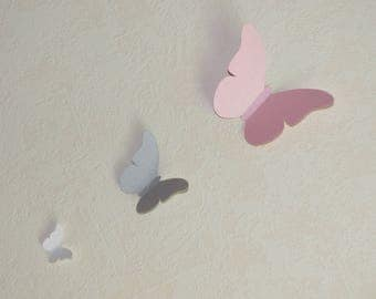 Flight of butterflies paper scrapbooking - set of 30 BUTTERFLIES - color gray Pearl - Pink mother of Pearl - White mother of Pearl