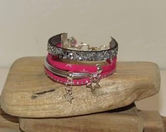 """Girl """"""""shooting star Fuchsia""""Cuff Bracelet for girl - gift idea"""