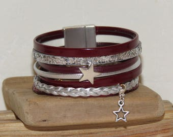 Cuff Bracelet, MULTISTRAND leather, Burgundy and silver charms and passers-by stars pimprenellecreations, magnetic clasp