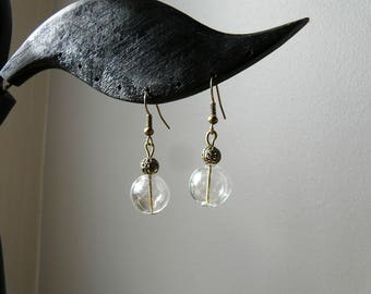 Classic ethnic earrings with clear glass bubble bead