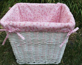 Great shabby chic basket painted white and weathered Wicker