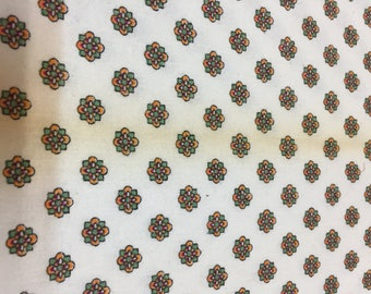 Vintage Cotton Fabric, Small Medallion Print, Shirting Fabric, 70's style