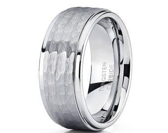 Silver Tungsten Wedding Band Hammered Wedding Ring Tungsten Carbide Ring Men & Women 9mm Tungsten Band