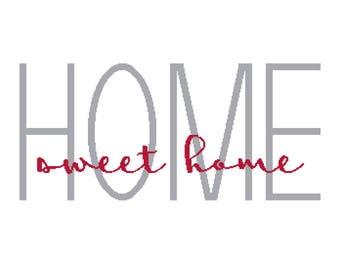 Home Sweet Home Digital Cross Stitch Pattern (PDF)