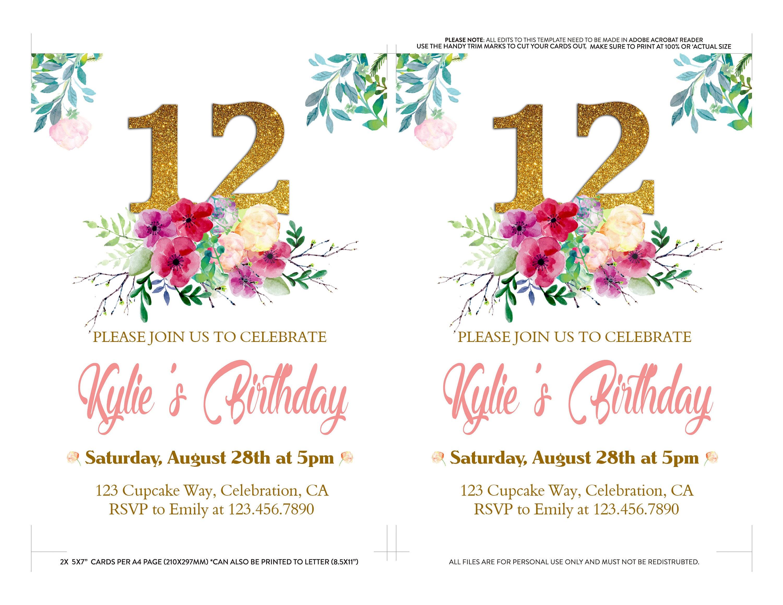 Floral 12th Birthday Invitation For Girl Tween Birthday Invitation