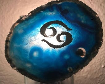 Handmade Zodiac agate nightlights.Made in US. by disabled Veteran. FREE SHIPPING. What's your sign ?