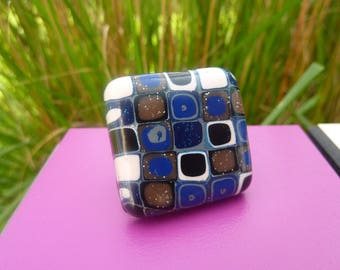 Geometric blue polymer clay ring