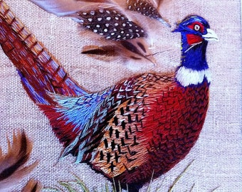 Pheasant. Painting fireplace decoration. Hand-embroidered. Has pair. Timber frame.