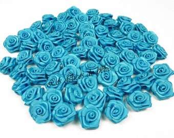 20 heads of pink satin turquoise 1.5 cm in diameter