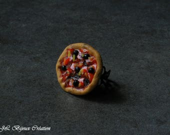 Bague pizza en fimo