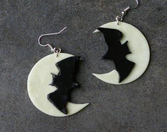 Bat Moon polymer clay earring
