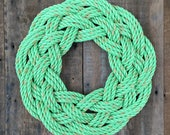 """17"""" Rope Wreath, new lobster fishing rope, nautical decoration, Maine made"""