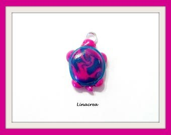 Little turtle 20mm x 15mm Green and pink polymer clay charm