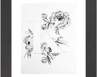 Illustrated 'K' initial print