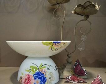 Compote Bowl or porcelain fruit bowl, Art Deco inspired pattern