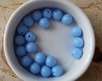 Set of 20 beads 10mm acrylic blue powder (P46)