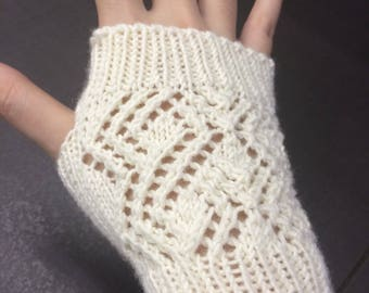 Knitted Lace Fingerless Gloves