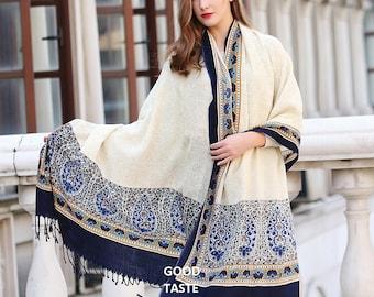 Beige Pashmina Scarf Paisley Pattern Shawl Wedding Shawl Soft Navy blue Boho Shawl Fashion Winter Cashmere Scarf Oversized Wool Scarves