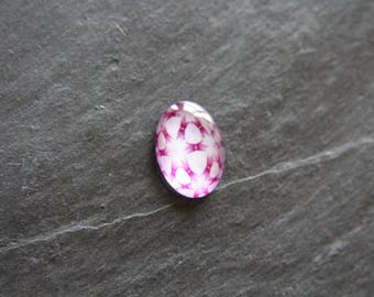 Pink glass cabochon 18 x 25 psychedelic