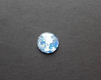 Cabochon 25 mm glass dragon blue / white
