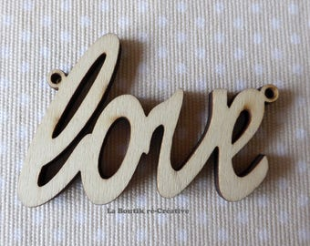 Shaped wood pendant Word Love between two Applique