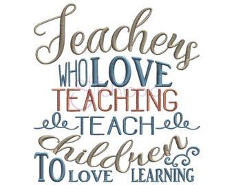 Teachers Who Love Teaching Machine Embroidery Digitized Design Pattern