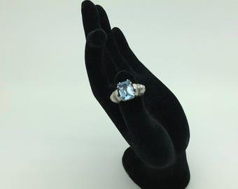 Platinum Ring Blue Topaz 14 Diamond Cocktail Engagement Art Nouveau Vintage Jewelry