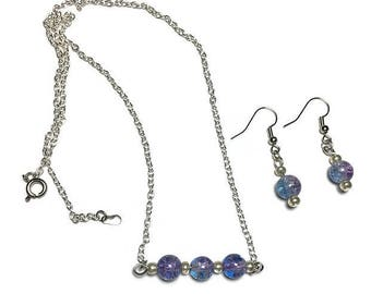 Crackled bead jewelry, mermaid jewelry, jewelry set, beaded bar necklace, watercolor earrings, under 25 dollars, watercolor necklace,