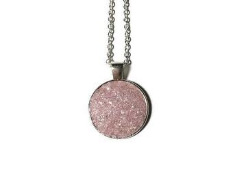 Druzy pendant, pink Druzy, Druzy necklace, silver pendant, geode jewelry, geode pendant, under 20 dollars, medallion, drusy, pink geode