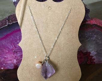 Sterling Silver Amethyst and Freshwater Pearl Necklace 18""