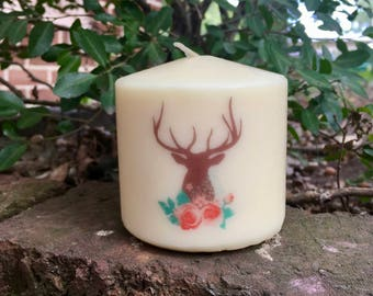 Deer and Flowers Candle, Floral Deer Pillar Candle, Gift for Her, Boho Chic Decor Candle