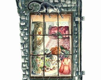 Literary Window Series: A Little Princess inspired 5x7 Watercolor Art Print, Children's Books, Classic Literature